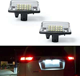 GemPro 2Pcs LED License Plate Light Lamp Assembly for Toyota Crown Alphard Camry Noah Starlet Vios Tarago,  Error Free 2W 18 Led White Rear License Tag Lights Rear Number Plate Lamp Direct Replacement