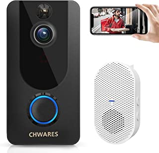 1080P Smart Video Doorbell Camera with Chime, Wireless Wi-Fi Smart Video Doorbell Security Camera with Motion Detection, ...