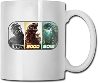 GODZILLA In Movies (1954-2019) Unisex 3D Printing Cool Ceramics Tea Cup Coffee Mug Milk Cup Brithday Gift Office Lovers Home Decor Engagements Anniversaries Souvenir Cup 11 Ounce