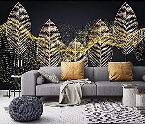 ZJfong Fotobehang 3D Effect Behang Licht Luxe Gouden Blad Lijnen Ontwerp muurschilderingen Wallpaper Decoratie 220 x 140 cm.