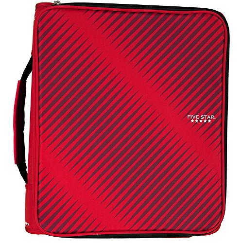Five Star 2 Inch Zipper Binder, 3 Ring Binder, 6-Pocket Expanding File, Durable, Red (72538)