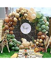APERIL Ballonger, girlang, födelsedagsdekoration djungel safari med olivgrön kaffe guldballonger, 95 stycken party dekoration set för bröllopsdekoration, baby shower, barnfödelsedag pojke