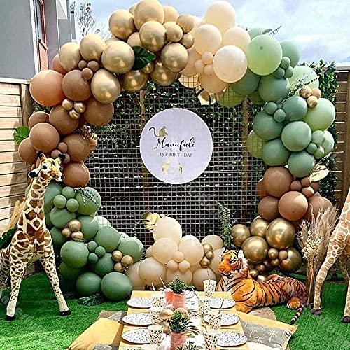 Palloncini Kit Ghirlanda Arco Palloncini Safari Jungle Decorazioni Feste Palloncini Verdi Oro Caffè per Jungle Palloncini Compleanno Palloncini Battesimo Matrimonio Anniversario Baby Shower…