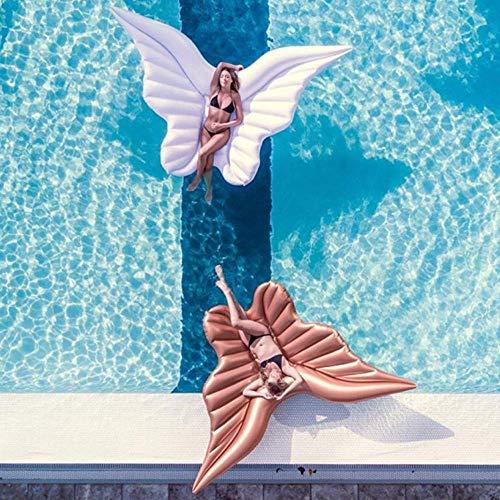 Kyman 2 Piezas Gigantes alas del ángel Flotante Fila Oro Blanco Lie-On Agua Inflable colchón Inflable Piscina Cama Flotante for Adultos y Niños