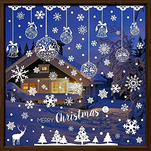 Sinwind Fensterbilder Weihnachten Selbstklebend, 185pcs Winter-deko Weinachts Dekoration, Weihnachten Fenstersticker, Fensteraufkleber PVC Weihnachten Fensterdeko selbstklebend Fensterfolie Weinachts