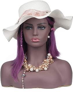L7 Mannequin Black Female Mannequin Head Bust for Wig Display
