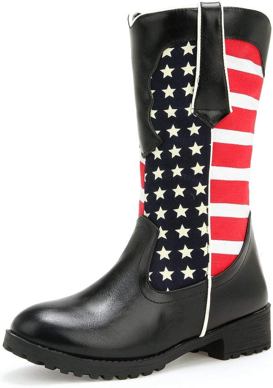AnMengXinLing Mid Calf Boots Women Low Block Heel Waterproof Star Strip Flag Pattern Leather Slip On Booties Winter