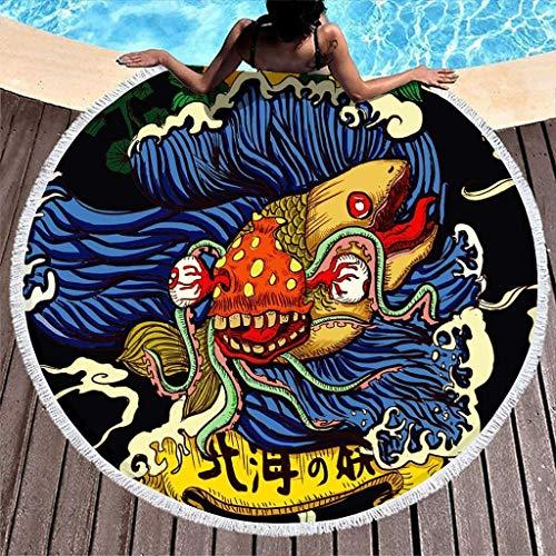 Toalla de Playa Redonda súper Suave con Estampado de Nubes de Sol Yokai de mar japonés Vintage con borlas, Manta de Playa Redonda con Flecos gitanos, Color Blanco, 59 Pulgadas, Blanco, 59 Pulgada