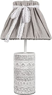 Lámpara de mesa vintage chic blanco gris con hormigón adornado Soporte Shabby Chic E14