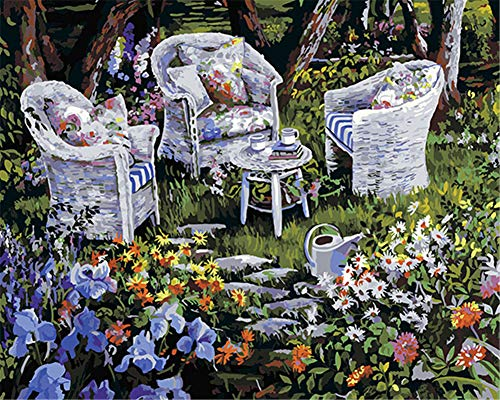 Awesocrafts Paint by Numbers Kits, Gorgeous Garden Tables and Chairs Number Painting for Adults and Kids 16x20 inch Framed or Not (Garden, No Frame)