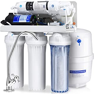 COSTWAY Reverse Osmosis Water Filtration System, NSF certified 5 Stage RO Water Purifier with Faucet and Tank, High Capacity Under Sink Drinking Water Filter System for Whole House