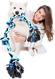 AZpets Dog Rope Toys for Aggressive Chewers,Tough Twisted Rope Toy,3 Feet 5 Knots Indestructible Cotton Rope ,Dog chew To...