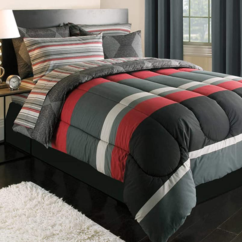 Black Gray Red Stripes Boys Teen Queen Comforter Set (7 Piece Bed In A Bag) usqlrmrn539421