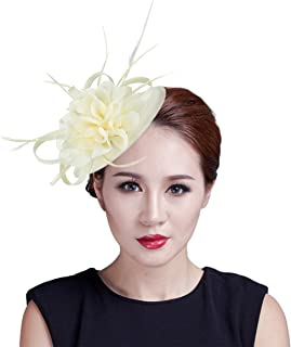 DEMU Women Flower Feather Sinamay Fascinator Hat with Hair Clip