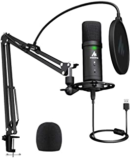 MAONO PM401 USB Microphone Set 192KHz/24Bit Microfone Professional Cardioid Condenser Podcast Mic with Mute Button & Audio...