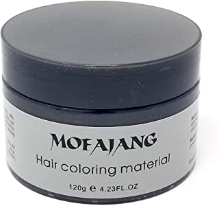 MOFAJANG Hair Color Wax Instant Hair Wax Temporary Hairstyle Cream 4.23 oz Cyan Green Hair Pomades Natural Hairstyle Wax for Men and Women (Black)