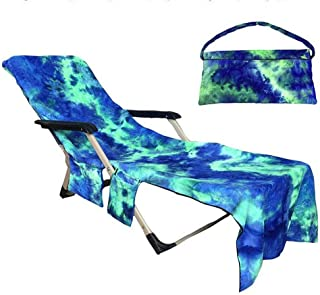 Beach Chair Cover with Side Pockets,Microfiber Chaise Lounge Chair Towel Cover for Pool Sun Lounger Hotel Vacation Sunbathing Garden Lawn Chair,No Sliding,Quick Drying,Tie-Dye Green (82.5