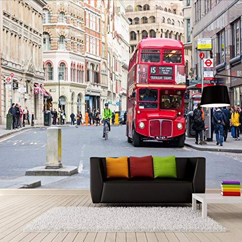 Pmhhc 3D Muraletro London Street Bus Modern Wallpaper 3D Wallpaper Livingo Papel De Pared 400x280cm