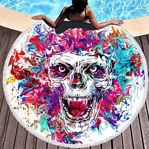 Toalla De Playa Redonda, Patrón De Impresión Digital De Dibujos Animados En Color, Tapete De Playa Resistente A La Arena De Secado Rápido, Toalla De Baño Absorbente 150 * 150cm