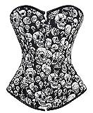 Zhitunemi Women's Punk Rock Skull Print Lace Up Boned Overbust Corset Burlesque 6X-Large