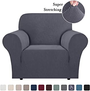Skid Proof Sofa Covers Stylish Furniture Cover Armchair Slipcover for Moving Jacquard Spandex Couch Covers, Form Fitted Stretch Chair Covers Couch Slip Sofa Covers (Chair, Grey)