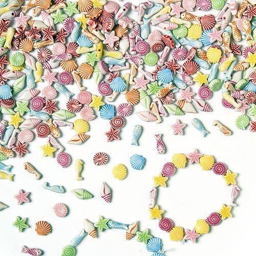"""Baker Ross Mini-Perlen """"Strand und Meer"""" - für Kinder zum Basteln von Schmuck - Ketten - Armbändern - 400 Stück"""