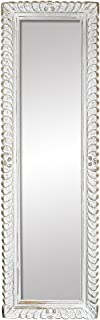 Indian Heritage Mirror 20 x 69 Carved Wooden Frame in White Distress Finish