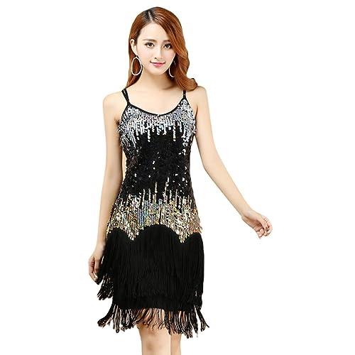 YiJee Donna Lustrino Latino Abito Tango Rumba Valzer Salsa Nappe Costume Danza  Da Ballo a0f8fc0e3d0