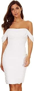 Women's Off Shoulder Mesh Bodycon Bandage White Party Club Dress