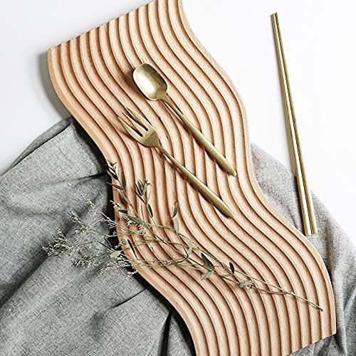 Bandeja de servir y decoración de madera maciza ondulada, estilo moderno, ideal para presentación plana, fruta o decoración, portajoyas