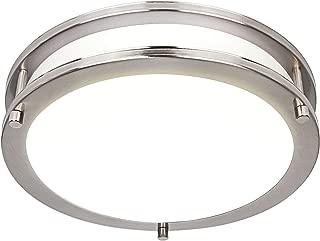 Hykolity 10 Inch Dimmable LED Ceiling Light, 17W [120W Equivalent] 1100lm 4000K Brushed Nickel Finish Saturn Flush mount Ceiling Lamps, ETL for Hallway, Bathroom, Kitchen, Bedroom, Restroom