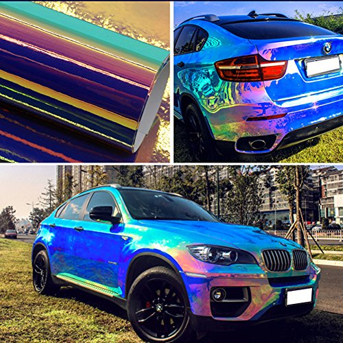 Laser Blue Holographic Vinyl Wrap Gloss Color DIY Air-Release Adhesive Film 53'' x 7.8''