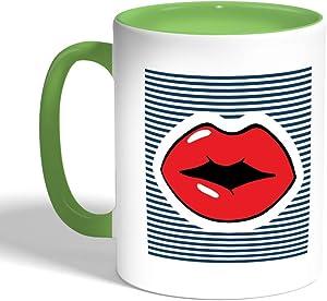 كوب سيراميك للقهوة، لون اخضر، بتصميم شفاه حمراء