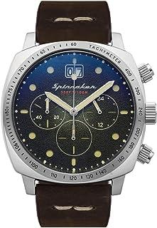 Spinnaker SP-5068-02 - Reloj para hombre, cronógrafo, caja redonda, acero inoxidable, esfera verde, correa de piel auténtica, color marrón
