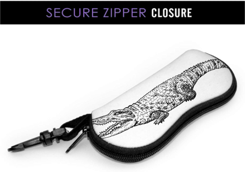 Huge Crocodile Happy Face Womens Sunglasses Case Eyeglasses Case For Women Light Portable Neoprene Zipper Soft Case Sunglass Cases For Girls