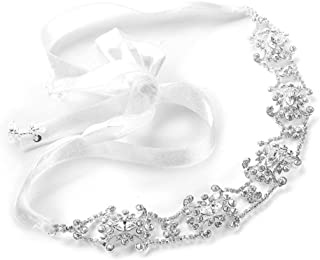 Mariell Vintage Crystal Bridal Halo Headband for Women, Wedding Hair Accessories for Bride, White Ribbon