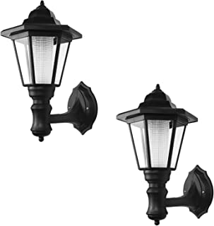 ONEVER Solar Vintage Wall Lamp Outdoor | Led Hexagonal Wall Light | Wall-Mounted Landscape | Garden Fence Yard Lamps | Waterproof Warm White (Pack of 2X)