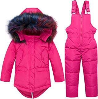 JELEUON Baby Girls Two Piece Winter Warm Fur Trim Hooded Side Pocket Snowsuit Puffer Down Jacket with Snow Ski Bib Pants