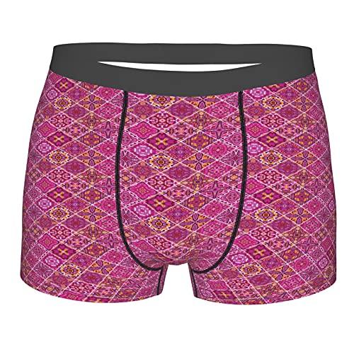 GKGYGZL Herrenunterwäsche,Marokkanischer Antiker Karierter Pink Print,Boxershorts Atmungsaktive Komfort Unterhose Größe S