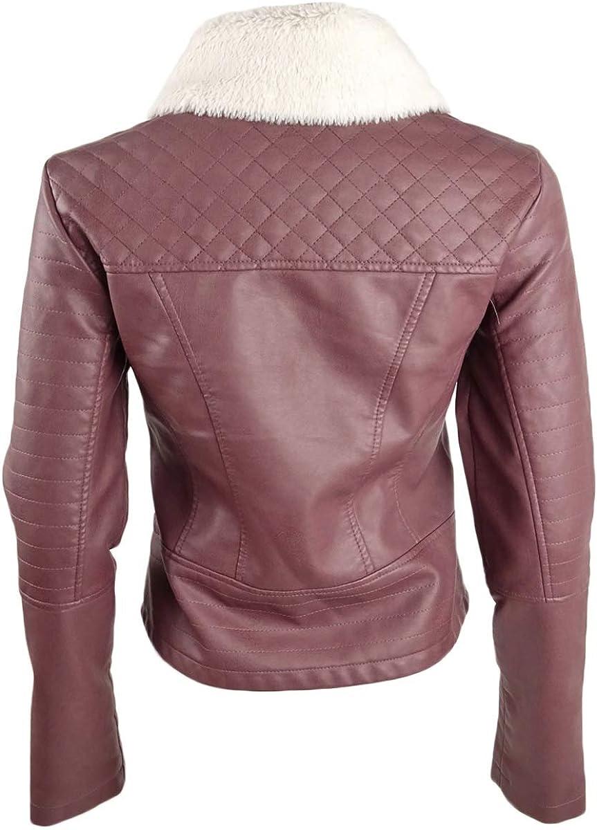 Coffee Shop Juniors Faux Fur-Collar Moto Jacket