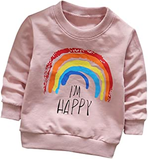Fineser Toddler Baby Girls Boys Long Sleeve Rainbow Print Cotton Soft Pullover T-Shirt Tops Clothes