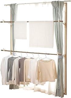 アイリスオーヤマ 木目調洗濯物干し 室内物干し 窓枠物干し おしゃれ 省スペースでたくさん干せる コンパクト 約4人用幅も高さも簡単調節 幅約110~190cm 高さ約190~260cm ホワイト MW-W260N