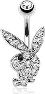 Body Accentz Multi Paved Gems on Playboy Bunny 316L Surgical Steel Navel Belly Button Ring (Black)