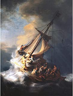 Wee Blue Coo Rembrandt Christ Storm On Lake of Galilee Old Painting Unframed Wall Art Print Poster Home Decor Premium