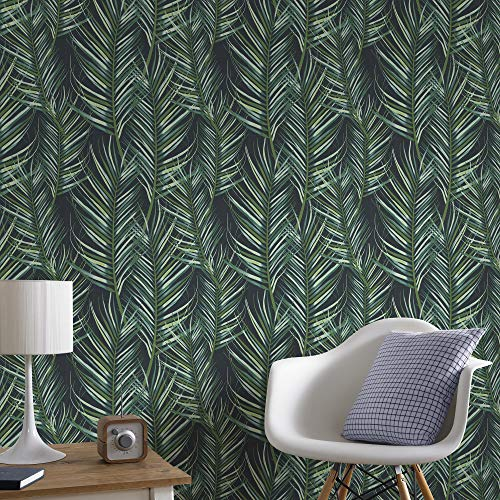 Graham & Brown 100558 Palm Leaves Superfresco Paradise Tapete, grün, Full 10M Roll