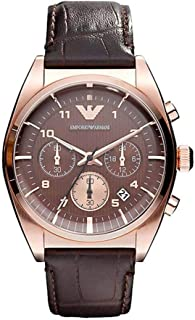 Emporio Armani Men Brown Leather Casual Watch Ar0371, Analog