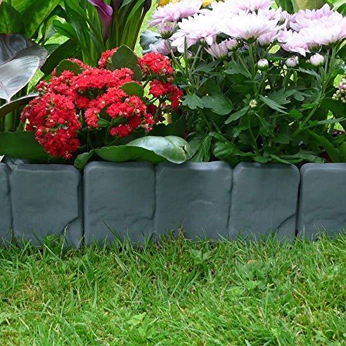 HIGHKAS Gartenzaun Rand Cobbled Stone Effekt Pp Rasen Rand Pflanze Rand Dekorationen Blumenbeet Grenze - 10St