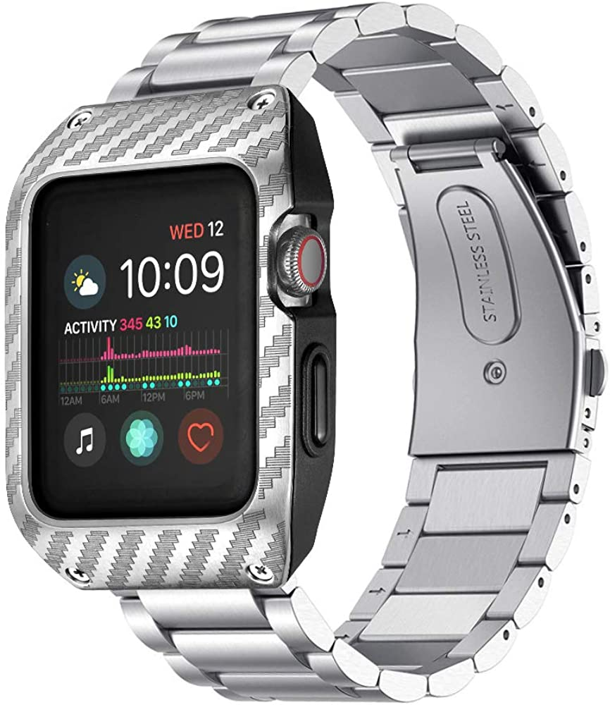 EloBeth Compatible with Apple Watch SE 44mm Band,Stainless Steel Bands with Protective Case for iWatch SE 44mm