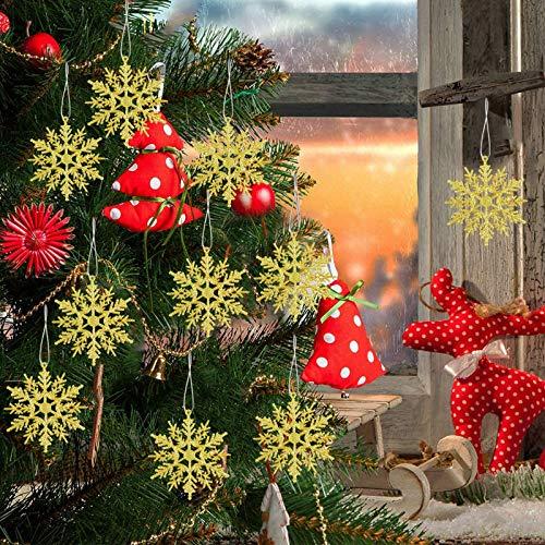 24 Pcs fiocchi di neve decorativi plastica di natale,Fiocchi di Neve Glitter di Ornamenti,Decorazione Domestica Fiocchi di Neve in plastica,Fiocchi di Neve Decorazione dell'Albero di Natale (D'oro)