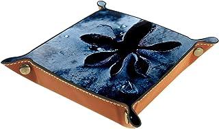 FCZ Close-up of Blueberry Leather Valet Tray Table de chevet Organiseur Boîte de rangement pour bijoux, clés, portefeuille...
